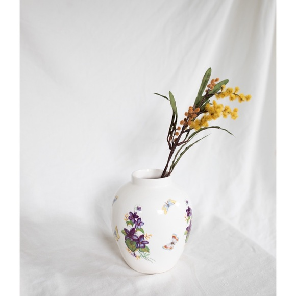 Other - Butterflies and flowers vase